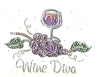 Wine   Rhinestone Bling Iron-On -  Sparkly Bling Heat Hotfix on DIY Transfer applique decal