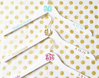 Monogram personalized wedding bridesmaid gift hanger intials