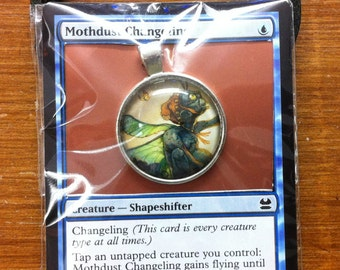 Mothdust Changeling - MtG Necklace Made from Actual Card