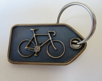 Solid bronze bicycle design keyring (tag shape) gift for cyclist