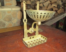 Rare Reclaimed Antique Brass Wall Mount Soap Dish & Spong Holder for Claw Foot Bath Tub. Excellent Condition.