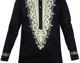 Embroidered Black African/Ankara Long Sleeve Shirt for Men