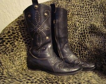 Quality Black ASH Leather Studded Boots US9 UK6.5 EU40