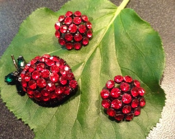 Vintage Red Rhinestone Strawberry Pin/Brooch and Earings