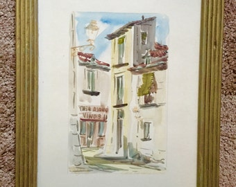 Martin Hidalgo Signed Watercolor Calle Del Aguila Madrid Wall Art; Martin Hidalgo Art; Hidalgo Watercolor