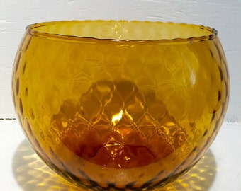 Vintage Amber Empoli Glass Bowl; Mid Century Decor; Empoli Glass; Large Glass Bowl; Amber Glass; Diamond Pattern