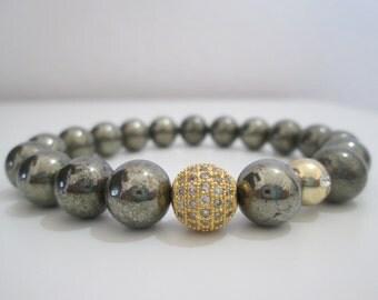 Pyrite, Pyrite bracelet, Womens stone bracelet, Stone bracelet, Jewelry, Womens jewelry, Gift for women, Bracelet, Gift, Gemstone jewelry
