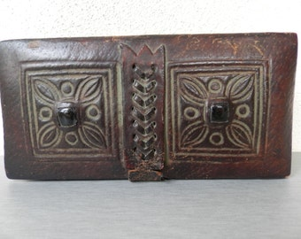 Vintage Handmade Leather Box Case /  Old Dark Brown Leather Box /  Medium Jewelry Box / Genuine Leather Box / Rectangular Box.