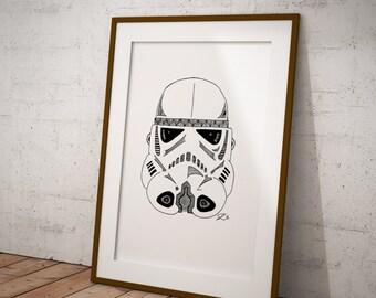 Star Wars Stormtrooper 77 - Wall Decor - Artwork- Painting - Illustration - Home Decor - Kids Decor - Nursery Decor