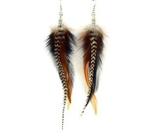 Earrings feather Amarok - Ethnic Feather - ethnic Jewelry - Indian jewelry - Boho-