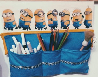 Wooden storage pockets felt printed Minions