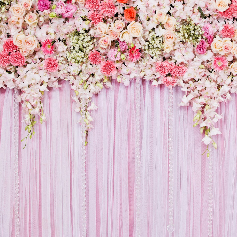 Pink Flower Backdrop Wedding Floral Romantic Scene