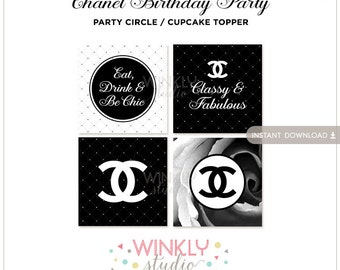 Chanel Party Circle / Cupcake Topper - Adult Birthday - INSTANT DOWNLOAD