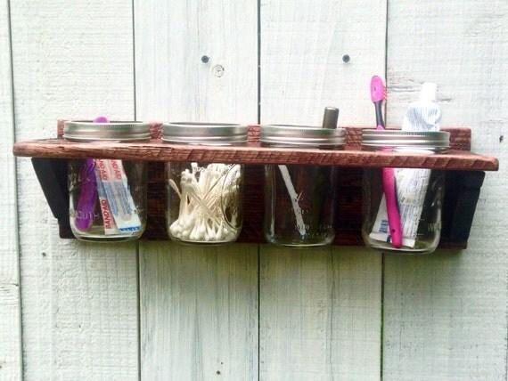 mason jar bathroom organizer rustic bathroom wall decor