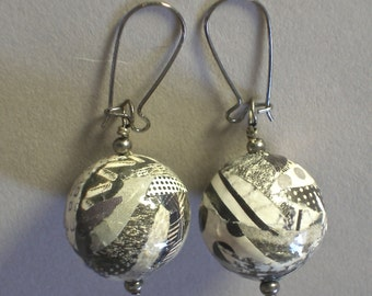 Handmade Black and White and Shades of Gray Paper Mache Earrings with Gun metal accents