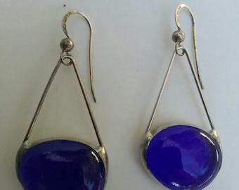 Handmade colbalt blue silver earrings