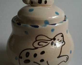 Rabbit storage jar/trinket pot/jewellery holder/whimsical art/dancingharepottery/rabbitpottery/artist designed/home and living/bunny art