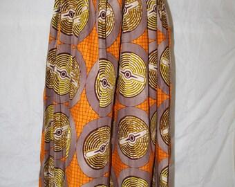 African Print Maxi  Skirt Cotton Gathers Waist