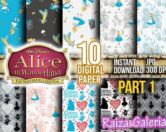 AWESOME Disney ALICE in Wonderland Digital Paper. PART 1 Instant Download - Scrapbooking - Alice in Wonderland Printable Paper