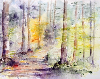 Original watercolor of undergrowth, trees in the forest - original woods  painting, Original Watercolour