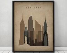 New York print, Poster, Wall art, Vintage style New York skyline, City poster, Typography art, Home Decor, Digital Print, ART PRINTS VICKY.