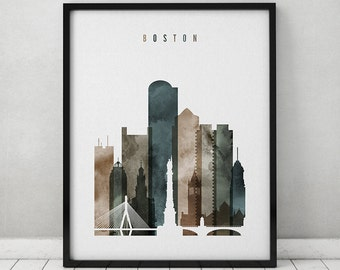 Boston watercolor art print, watercolor poster, Travel, Wall art, Boston skyline, city art, urban, wall decor, gift, ArtPrintsVicky
