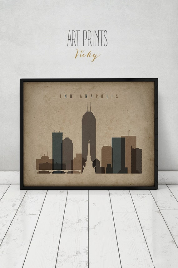 Indianapolis Print Travel Poster Wall Art Vintage Style