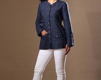 Mahe Linen Jacket ~ Navy