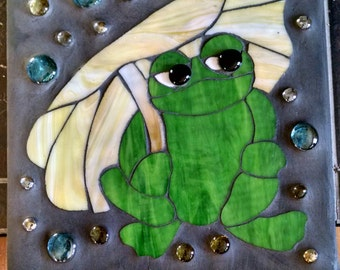 Frog Stain Glass Cement Garden Stone