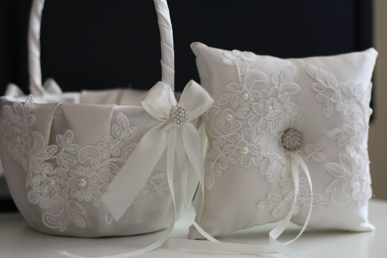 off white ring bearer pillow flower girl basket set lace wedding ring holder basket set lace. Black Bedroom Furniture Sets. Home Design Ideas