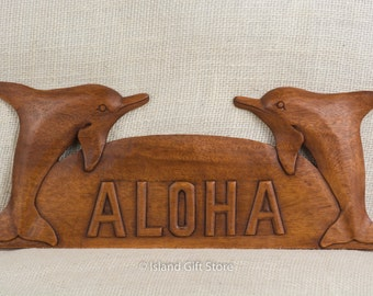 Hand carved Monkey Pod wood dolphins aloha Sign, Wall hanging