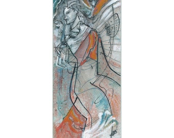 """Image communications 20/9.2 cm """"Angel of temptation"""" portrait painting drawing modern art abstract"""