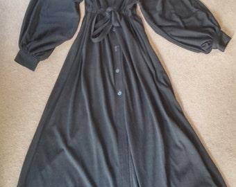 Black jersey full-length lounge shirt dress