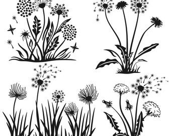Dandelions Flower Spring Cuttable Designs SVG, DXF, EPS use with Silhouette Studio & Cricut, ...