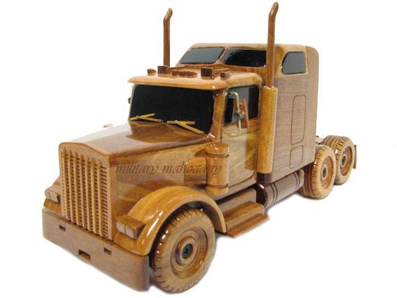 Kenworth Semi Tractor Trailer Truck Wood Mahogany Wooden