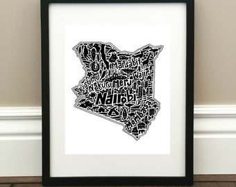 "Kenya Map Art Print - Signed 8.5"" x 11"" print of original hand drawn map including landmarks, culture, symbols, and cities"