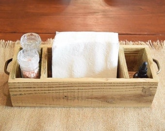 Table Caddy / Wood table caddy / Table Organizer / Napkin Holder / Kitchen Organizer/ Kitchen Organization /  table caddy with handles