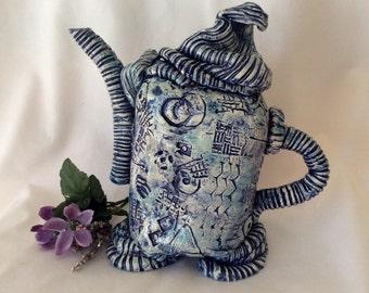 Decorative blue teapot