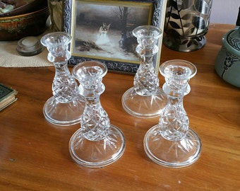 Vintage Clear Glass Pineapple Candlesticks set of 4 Diamond Pattern Candle Holders