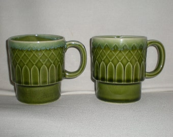Retro Avocado Green Stacking Mugs
