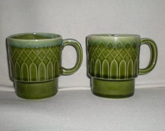 Retro Avocado Green Stacking Mugs