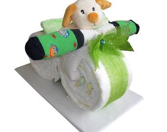 Diaper cake of large diaper motorcycle diaper bicycle diaper cake