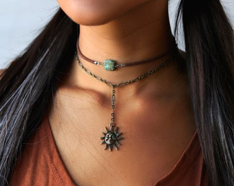 BOHO Charm Lariat Necklace Smiley Sun