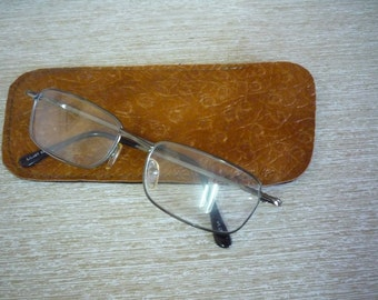 Vintage Brown Leather Glasses Case, Double Sided Case for Sunglasses, Eyeglass Case, Eyeglass Holder from 1970s