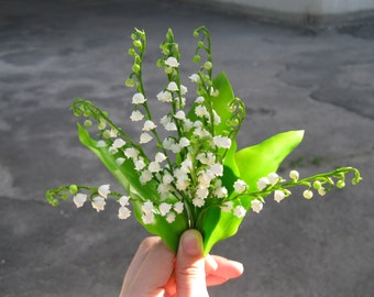 Lily of the valley flower bouquet Lily of the valley home décor Artificial bouquet White faux flower Lily handmade Spring flower home décor