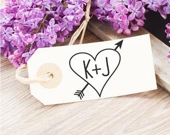 Custom Heart Wedding Stamp - Couples Initials Stamp - Wedding Initials Heart Stamp - Heart Favor Tag - Rustic Wedding Favor Sticker Stamp