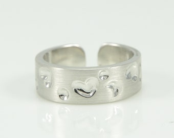 925 Silver Ring With Hearts, Size 7, Ladies Ring