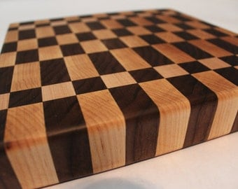 Crazy Checkers Handcrafted 10x10 end-grain cutting board