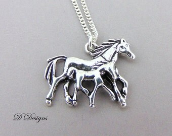 Horse and Foal Necklace, Horse Jewellery, Horse Gifts, Pony Necklace, Silver Charm Necklace, Mare and Foal Pendent, Silver Necklace,