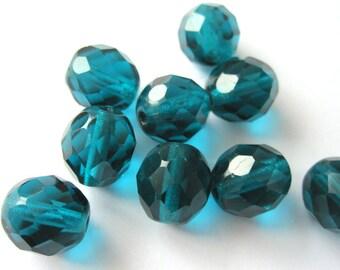 10 PCs 8mm - teal Czech glass beads